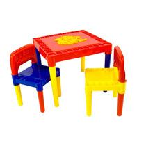 Mesa Infantil Mesinha Educacional Com 2 Cadeiras Colorida