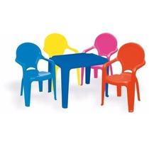 Mesa Infantil + 4 Cadeira Poltrona Plástico