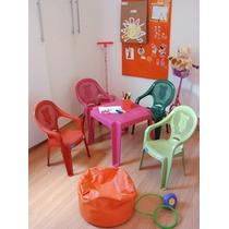 Conjunto Mesa +4 Cadeira Poltrona Cm Apoio De Braço Infantil