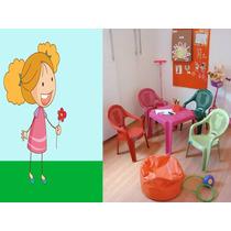 Kit Mesa Infantil Com 4 Cadeiras Plástica Poltrona Criança
