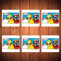 Porta-copos Homer E Lata De Duff - 6 Peças - Em Vidro