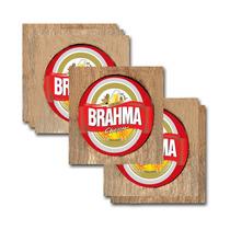 Conjunto 6 Porta-copos Brahma Chopp Em Madeira E Resina