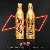 Garrafa Aluminio Budweiser Dourada Taça Copa Do Mundo Vazia