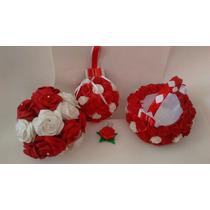 Kit Para Noiva, Bouque, Porta Aliança E Cestinha Florista