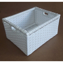 Cesto Fibra Sintética Caixa Caixote Branco 40x32x21