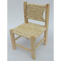 Cadeira Infantil Madeira E Palha De Milho - 28 X 26 X 41