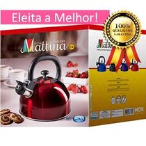 Chaleira Aço Inox C Apito 2,5l Mattina Vermelha Evita Queima