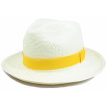 Chapéu Panamá Original Equador Masculino Feminino Amarelo