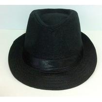Chapéu Panamá Tipo Fedora Aba Curta Modelável Preto Malandro