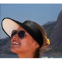 Viseira Aba Larga Preta Impermeável Praia E Campo + Brinde !