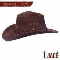 Chapéu Americano Xerife Em Couro Chocolate - Ljame22