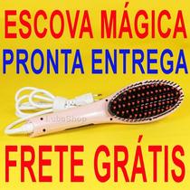 Escova Mágica Elétrica Para Alisamento Rápido De Cabelos