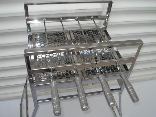 Churrasqueira Em Aço Inox 430 Com 4 Espetos Giratórios