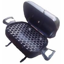 Churrasqueira A Bafo Portátil Com Grelha De Inox A Carvão