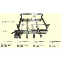 Kit Giratório Max Grill 4 Espetos - Aço Inox