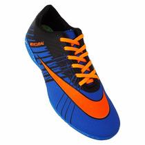 Chuteira Society Nike Mercurial Superfly 2 - Azul E Laranja