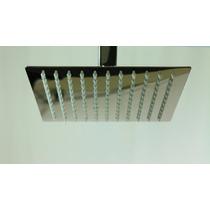 Ducha Chuveiro Quadrado Inox Slim 20x20cm C/ Braço 40cm
