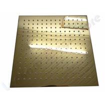 Ducha De Metal Dourada 30x30 Cm Com Leds (metal De Verdade)