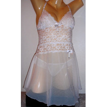 Camisola Branca Em Renda Elastano E Tule Transparente
