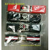 Kit Com4cinto Masculino Em Lona Com Fivelas Quiks,tommy,etc
