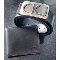 Kit Cinto Calvin Klein Jeans + Carteira Ckj Couro Legitimo !