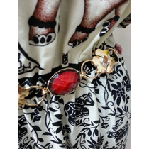 Cinto Feminino Metal C/ Pedras Vermelhas E Douradas Corrente
