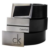 Cinto Calvin Klein Ck Social Masculino Couro E Aço Escovado