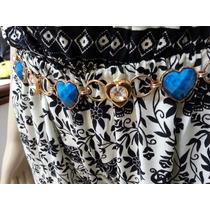 Cinto Feminino Metal C/pedras Coraçao Azul Douradas Corrente