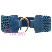 Cinto Feminino Elástico Renda Larga 8cm Azul