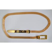 Cinto Dourado Metálico Fino Feminino - M