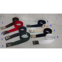 Cintos De Lona Liso Ou Listrados Kit Com 3 Peças Completos