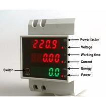 Wattímetro Multímetro Trilho Din 80-300v 100a 3 Displays