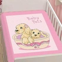 Cobertor Bebê Jolitex Anti Alergico Baby Pets Rosa