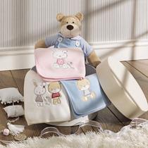 Manta Fleece Bebê Com Bordado Azul, Rosa E Branca - Lepper