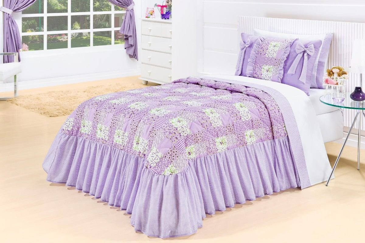 Cobre leito solteiro babados estilo patchwork camilli 3p s - Estilo patchwork ...