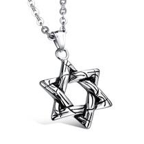 Colar Masculino Estrela De Davi Em Aço Inoxidável 316l