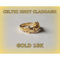 Anel Claddagh Celtic Knot - Puro Ouro 18k - A R O S 12 - 16