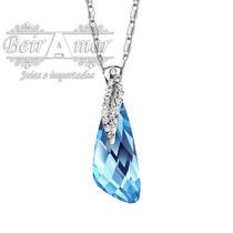 Colar Caribbean Blue Cristal Banhado Platina Com Swarovisky