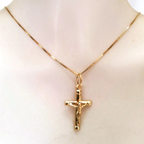 Corrente 60cm Pingente Crucifixo Masculino Ouro 18k Certific