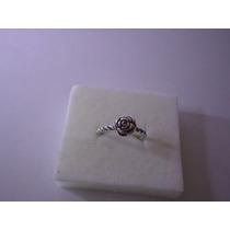 Anel Botão De Rosa Estilo Pandora / Vivara Prata 925