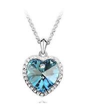 Colar Coração Do Oceano Azul Folheado Ouro Cristal Swarovski