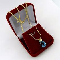 Corrente Feminina 40cm 1mm Gota Azul Folheado Ouro Cr706