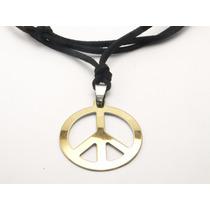 Cordão De Couro Com Simbolo Da Paz Em Aço Inox