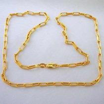 Corrente Masculina 70cm 4mm Largura Folheado Ouro Cr437