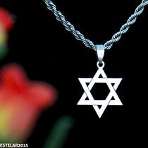 Estrela De Davi Salomão Hexagrama Corrente Aço + Pingente