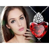 Colar Feminino Coração Prata Pura 925 - Zirconia E Cristal
