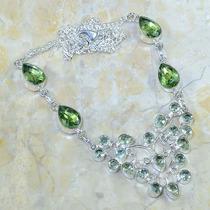 Colar Prata 925 Com Peridoto E Ametista Verde Natural!