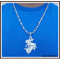 Cordão,corrente Em Prata Com Pingente São Jorge