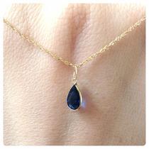 Pingente Gota Cor Azul Safira Joia Ouro 18k Certificad Linda