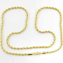 Corrente Masculina 70cm 3mm Largura Folheado Ouro - Cr473